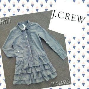 🦋Pleat & Ruffle Denim Dress by J. Crew